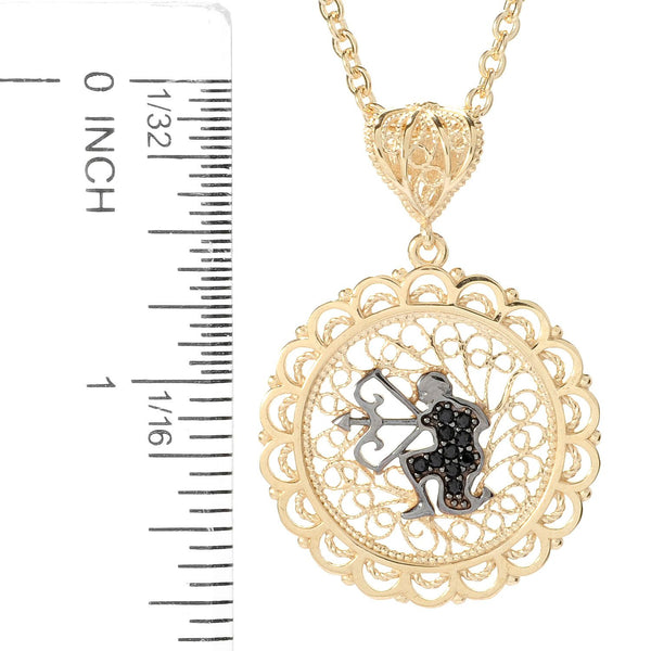 Black Spinel Zodiac Necklace w/ 32in. Chain