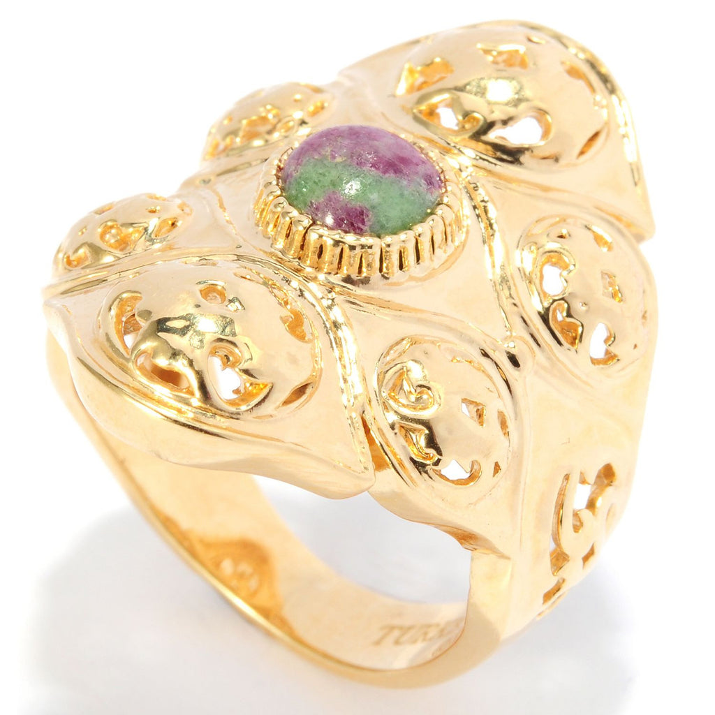 Ruby Zoisite Harem Wide Band Ring