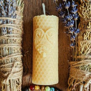Beeswax Mini Pillar Filigree Heart - Big Moon Beeswax