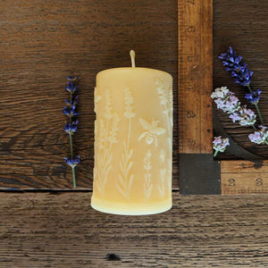 Bees Dancing with Lavender, Beeswax Pillar - Big Moon Beeswax