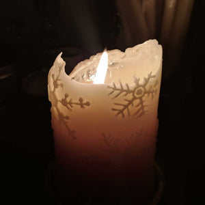 beeswax candle with snowflakes