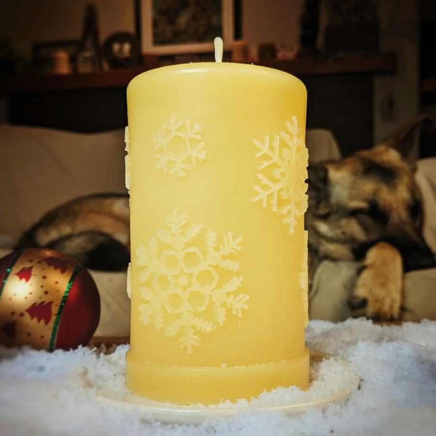 "Beeswax 'First Snowfall' Pillar 3""x5"" Honey"