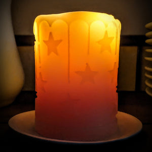 Beeswax candle pillar with stars