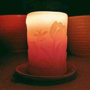 "3"" x 4"" Beeswax Tulip Field Pillar - Big Moon Beeswax"