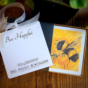 Bee Hopeful Votive Set from Big Moon Beeswax, Artwork by Peggie Hunnicutt