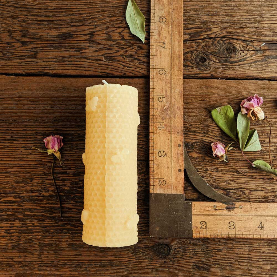 Beeswax Mini Pillar Honeycomb Bee - Large - Big Moon Beeswax