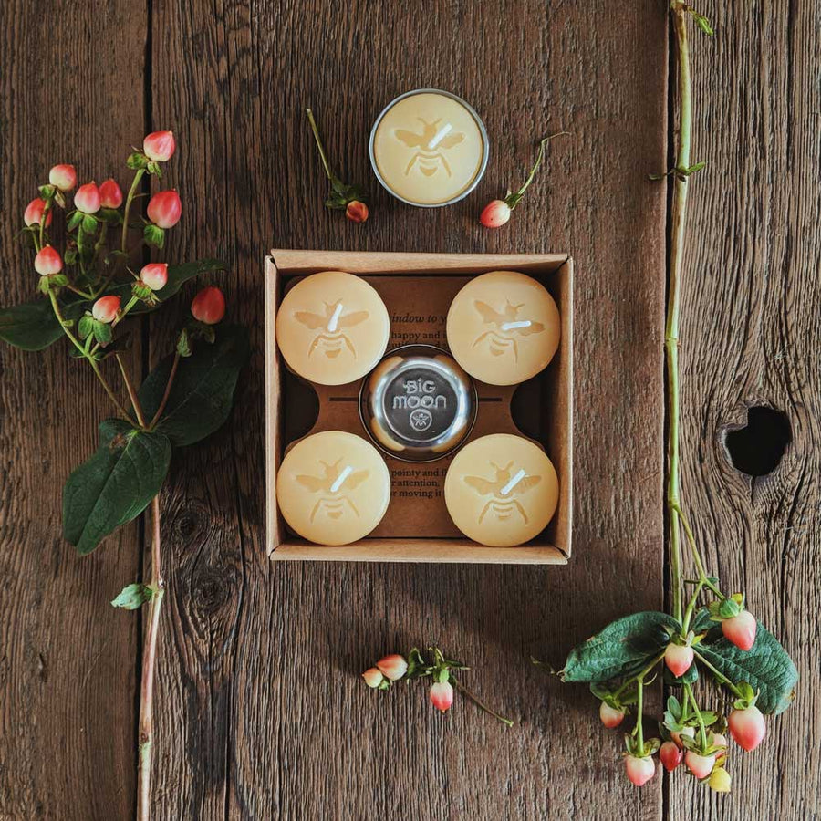 10 Moon Drop Beeswax Tealights & 2 Stainless Cups - Big Moon Beeswax