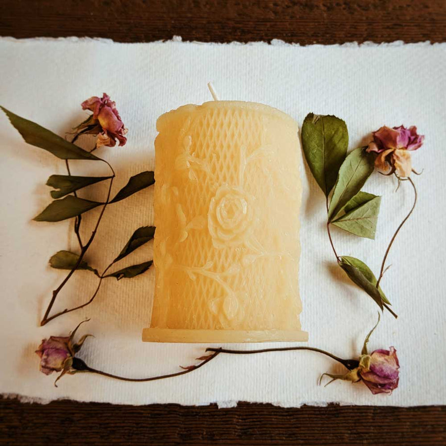 Beeswax Mini Pillar Rose - Big Moon Beeswax