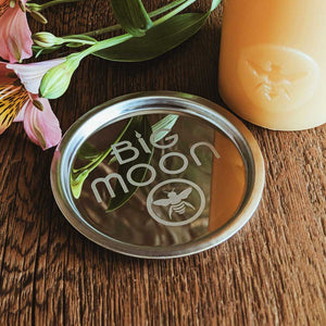 "Candle Plate Polished Stainless Steel 3"" - Big Moon Beeswax"