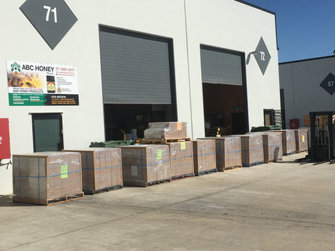 Pallets of Australian ABC Honey packed and ready for export from our Brendale facility