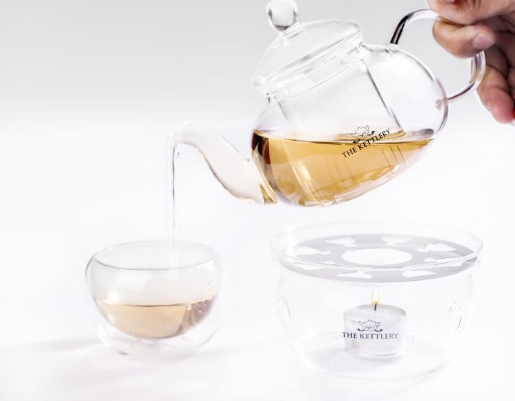 Illusion Glass Tea Kettle & Cups Set Tea Kettle & Cup Sets The Kettlery Set of 6