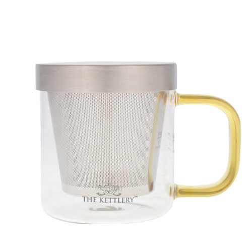 Gold Milano Glass Tea Cup with Infuser | The Kettlery