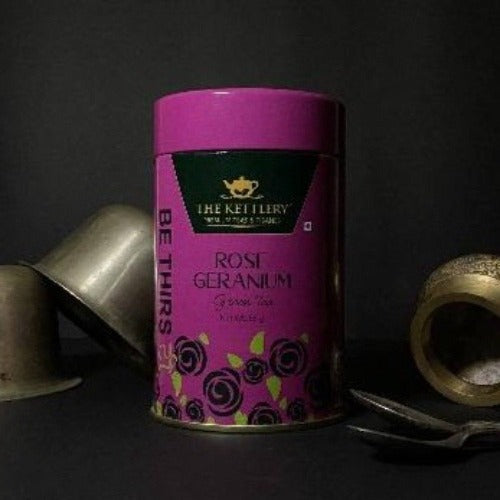 Rose Geranium Loose Leaf Green Tea Tin - 65 gms Green Tea The Kettlery