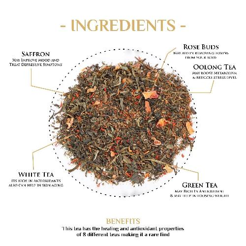 Secrets of the East Saffron & Rose Green Tea Green Tea The Kettlery 250g in