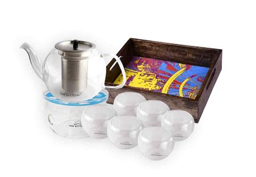 Victoria Glass Tea Kettle & Cup Set Tea Kettle & Cup Sets The Kettlery Tea Set with 6 Kava Cups