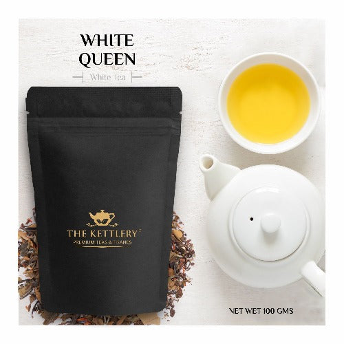 White Queen Spiced Saffron & Cinnamon White Tea White Tea The Kettlery 100g in