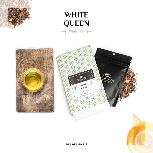 White Queen Spiced Saffron & Cinnamon White Tea White Tea The Kettlery 50g in