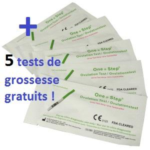 20 Tests d'ovulation bandelette + 5 Tests de grossesse 10 mUI/ml gratuit! Promo.