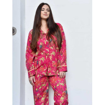 Pyjamas.Shocking pink ladies pyjamas birds and flowers