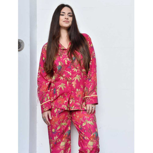 Shocking pink ladies pyjamas birds and flowers