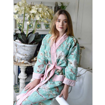 cotton Dressing gown. Mint blossom print with pink trim and pink Pom poms. Perfect to take on holiday, lightweight. dressing gown, ladies dressing gown, dressing gown for women, kimono dressing gown, colourful womens sleepwear, 100% cotton, cotton dressing gown, cotton house coat, Kimono