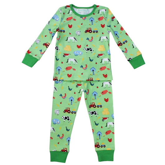 childrens pjs, childrens pyjamas, boys pyjamas, farmyard pyjamas, farm animals pyjamas for boys, green girls pyjamas, boys green pyjamas with farmyard animals, farm pyjamas for children age 4
