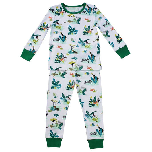 Shamwari pyjamas with a fabulous design of animals you'd see on safari. Elephants, monkeys and zebras cotton pyjamas. childrens pjs, childrens pyjamas, boys pyjamas, safari pyjamas, zoo animals pyjamas for boys, white background and colours pyjamas, boys pyjamas with safari animals, wild animal pyjamas for children age 2, age 4, age 6