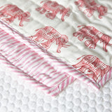 Baby quilt, quilt for babies. Our 100% hand block printed cotton baby quilts are perfect for bed time, play time, on the beach or for a picnic Colour: Pink elephant with pink  striped reverse., Rowan Charles, Baby Play mat, Play mats for baby girl