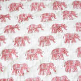 Pink elephants, Baby quilt, quilt for babies. Our 100% hand block printed cotton baby quilts are perfect for bed time, play time, on the beach or for a picnic Colour: Pink elephant with pink  striped reverse., Rowan Charles, Baby Play mat, Play mats for baby girl