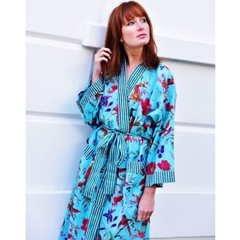 Ladies turquoise kimono style dressing gown with bird and floral printed in exotic pink.ladies dressing gown, dressing gown for women, kimono dressing gown, colourful womens sleepwear, 100% cotton, cotton dressing gown, cotton house coat, Kimono