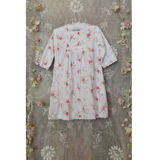 Tilly, Fresh white cotton nightdress with pretty pink flowers and embroidery. Pretty rose print. Long sleeves 100% cotton Lace trim, White cotton beautiful nightdress for girls, nighties, nightdresses, childrens nightwear, kids sleepwear, white cotton girls sleepwear, pink flowers nightie for girls, girls white nightdress
