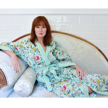 Vita Cotton Dressing gown. mint green with floral print. Lightweight perfect for holidays. tropical style dressing gown, ladies dressing gown, dressing gown for women, kimono dressing gown, colourful womens sleepwear, 100% cotton, cotton dressing gown, cotton house coat, Kimono Mint and white stripy trims. 100% cotton.