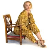 Rich gold and yellow paisley, ladies pyjamas