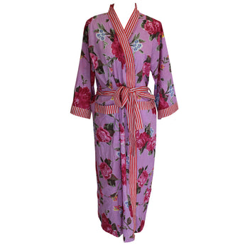 Dressing gown. Lilac background with bright pink floral design trimmed with red and white stripe. Perfect for holidays, womens nightwear, womens sleepwear, ladies dressing gown, dressing gown for women, kimono dressing gown, Beautiful soft 100% cotton, colourful womens sleepwear, dressing gown, ladies dressing gown, dressing gown for women, kimono dressing gown, colourful womens sleepwear, cotton dressing gown, cotton house coat, Kimono