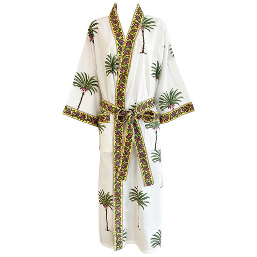 tropical style dressing gown, ladies dressing gown, dressing gown for women, kimono dressing gown, colourful womens sleepwear, 100% cotton, cotton dressing gown, cotton house coat, Kimono