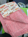 Pink/Orange Fish Print Baby Quilt / Play Mats