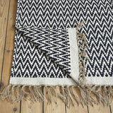 Herringbone Blue Cotton Rug - Rowan Charles