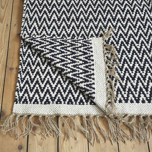 Herringbone Blue Cotton Rug - Rowan Charles, Cotton rug from India, Rug with tassles, Woven cotton rug