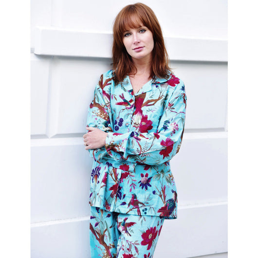 Ladies turquoise long sleeve bird and floral printed in exotic pink. pyjama set for women, patterned pyjamas for women, ladies pyjama, womens nightwear, womens sleepwear, cotton pyjamas, colourful pyjamas for women, colourful womens sleepwear, cotton pyjama set, 100% cotton, cotton pjs, womens PJs