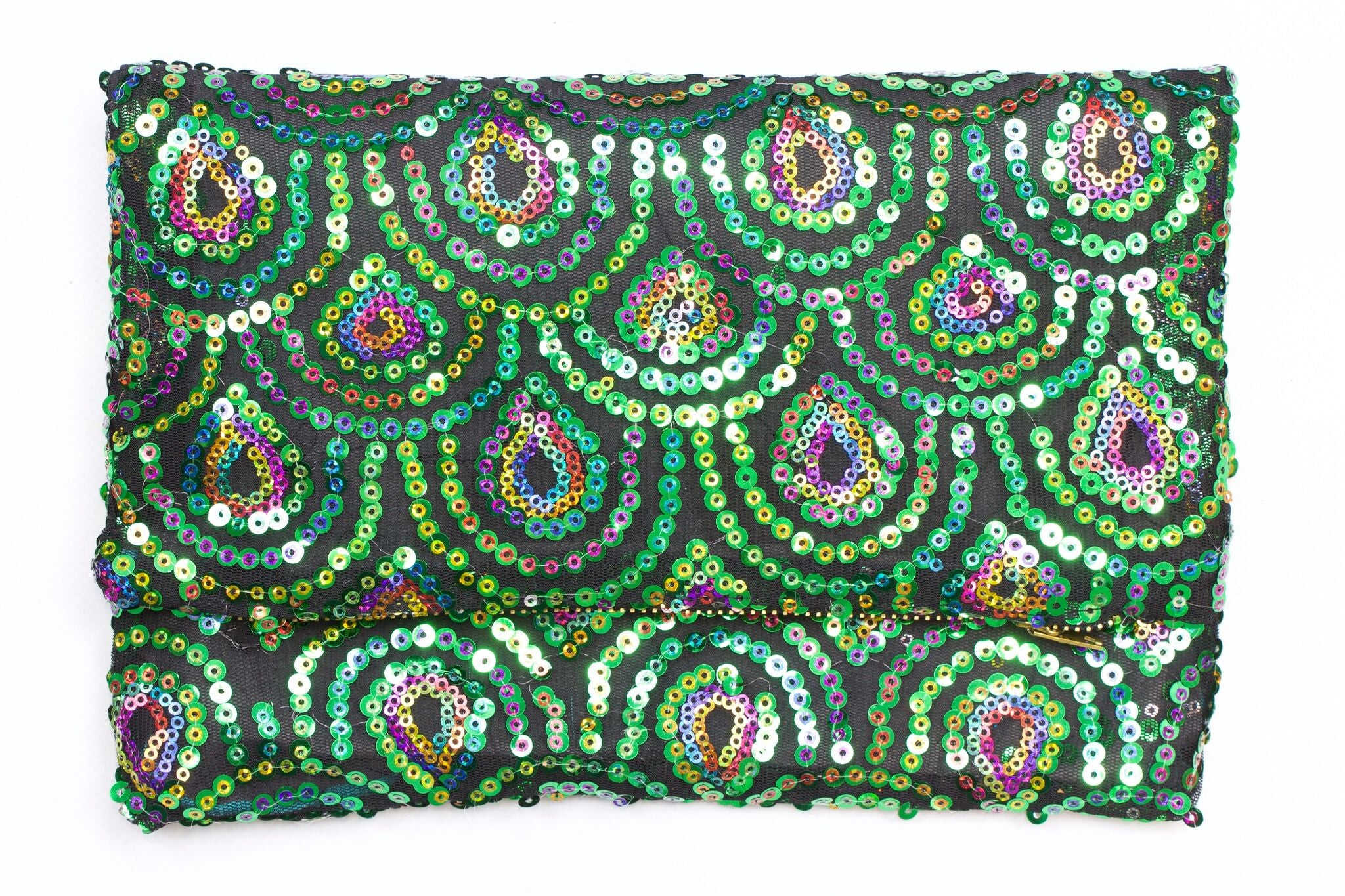 Green Peacock Foldover Clutch