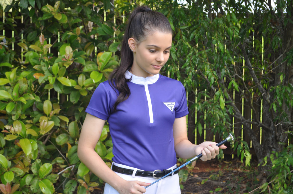 Short Sleeve Technical Riding Shirt with Zipper - Purple