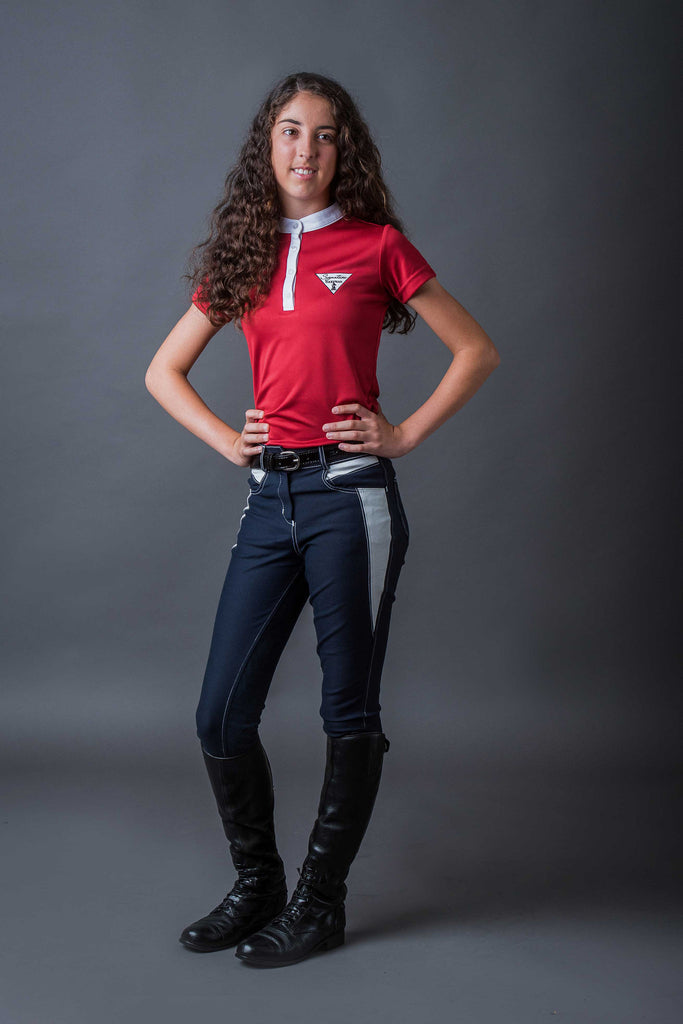 Girls Technical Riding Shirt - Red | Signature Equestrian QLD