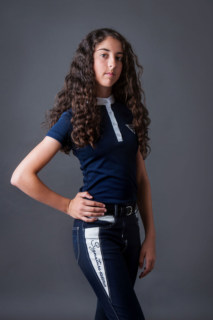 Girls Technical Riding Shirt - Navy