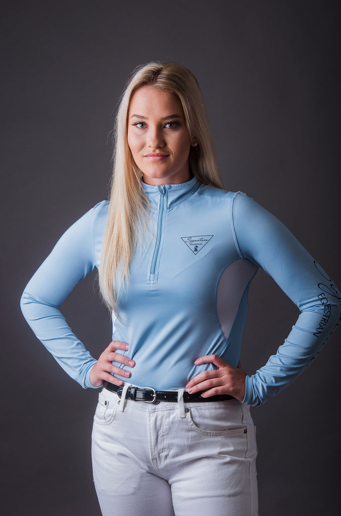 Long Sleeve Outdoor Shirt with Mesh Vent - Blue | Signature Equestrian
