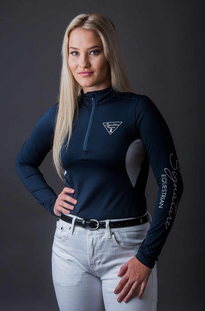Long sleeve Outdoor Shirt with Mesh Vent - Navy | Signature Equestrian