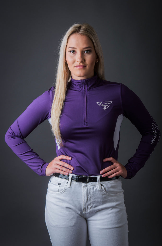 Long Sleeve Outdoor Shirt with Mesh Vent Purple | Signature Equestrian