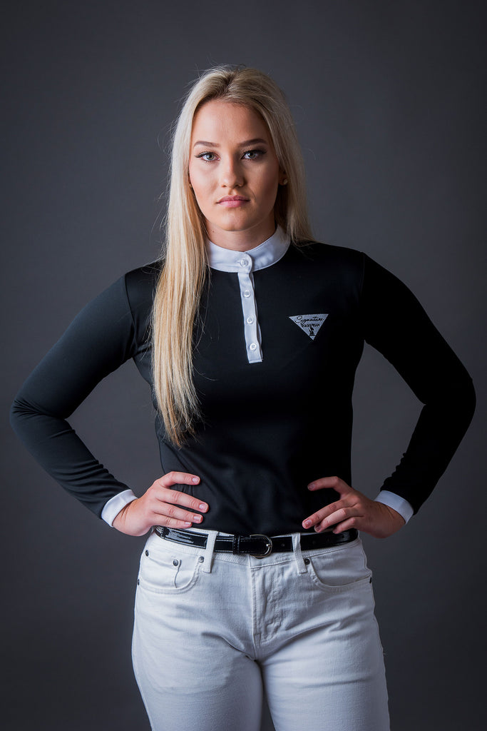 Long Sleeve Technical Riding Shirt - Black | Signature Equestrian QLD