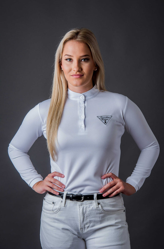 Long Sleeve Technical Riding Shirt - White | Signature Equestrian