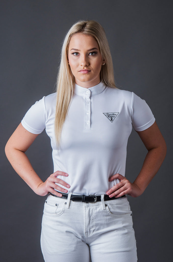 Short Sleeve Technical Riding Shirt - White | Signature Equestrian QLD