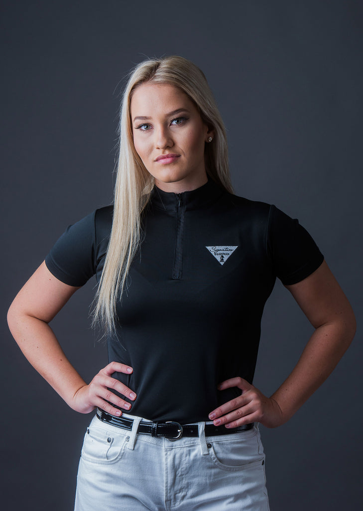 Short Sleeve Technical with Zipper - Black | Signature Equestrian QLD